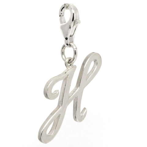 Silver Large Italic H Charm
