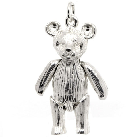 Silver Large Teddy Bear Charm