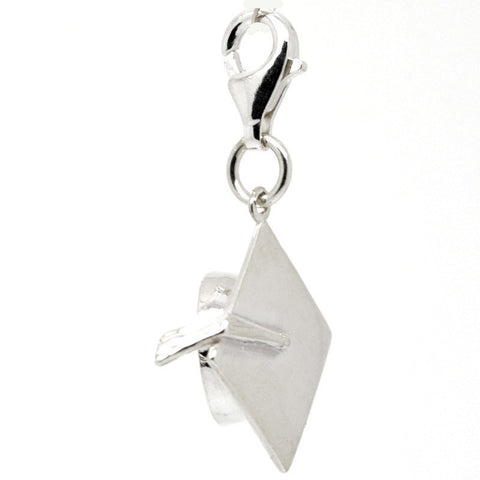 Silver Graduation Cap or Mortarboard Charm