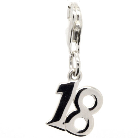 Silver Number 18 Plain Charm