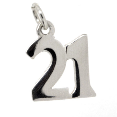 Silver Number 21 plain Charm