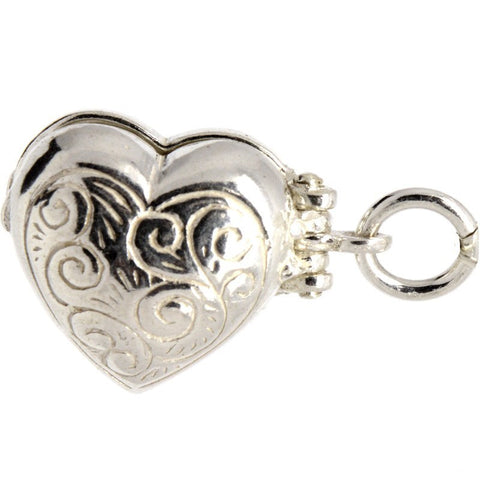 Silver Opening Heart Charm