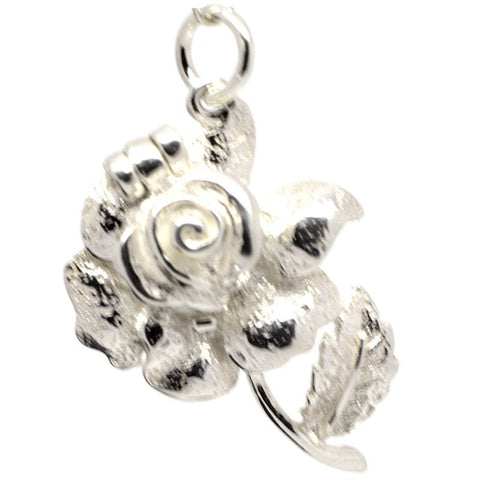 Silver Opening Rose Charm