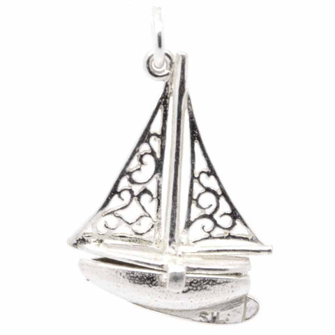 Silver Opening Sailing Boat Yacht Charm