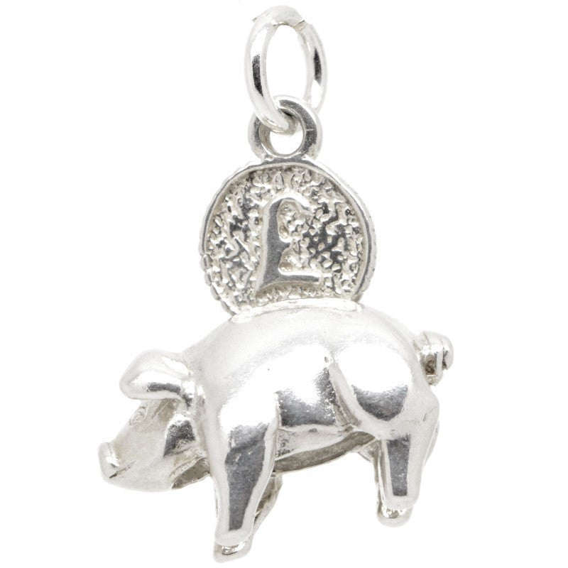 Piggy bank charm silver 9ct gold 18ct gold perfect charm - Engraved silver piggy bank ...