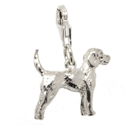 Silver Pointer Dog Charm