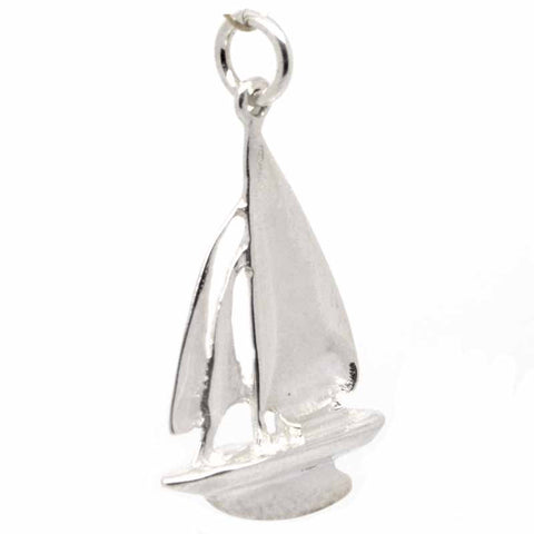 Silver Sailing Boat Yacht Charm