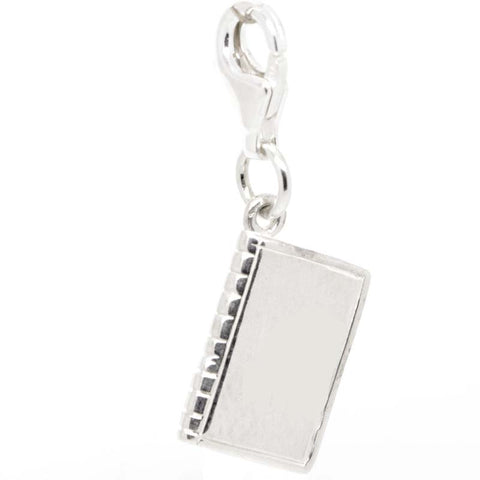Silver Book Charm with clip on clasp