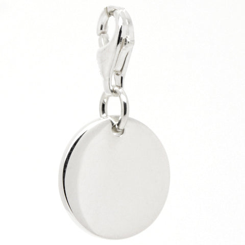 Silver Disc Tag Charm with clip on clasp