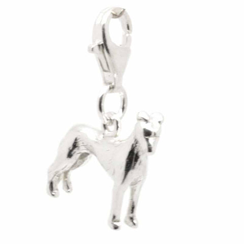 Silver Greyhound Dog Charm