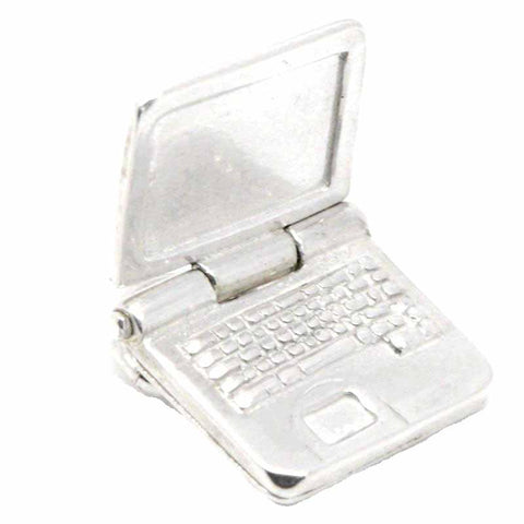 Silver Laptop Computer Charm