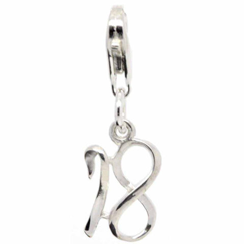 Silver Pretty 18th Birthday Charm