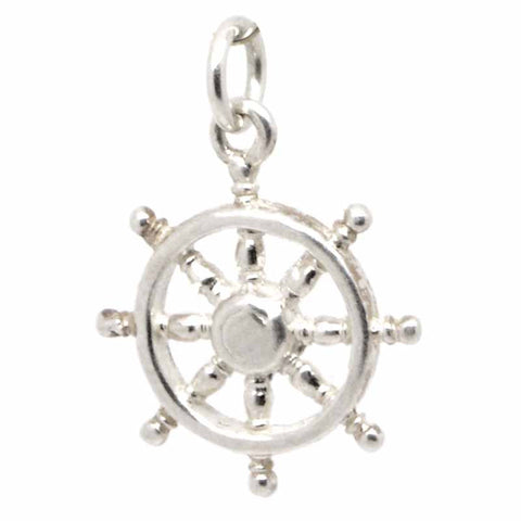 Silver Small Ship Wheel Charm