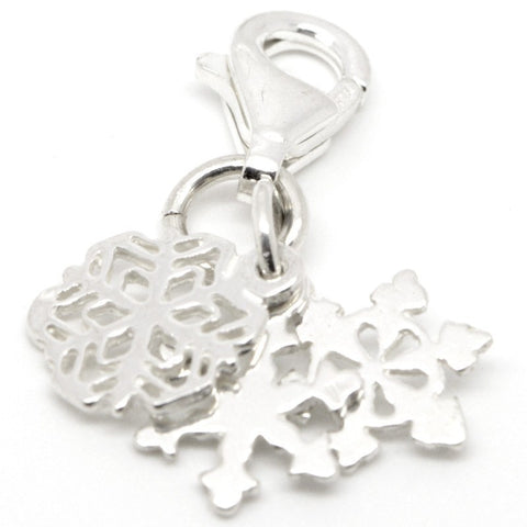 Silver Snowflake Cluster Charm