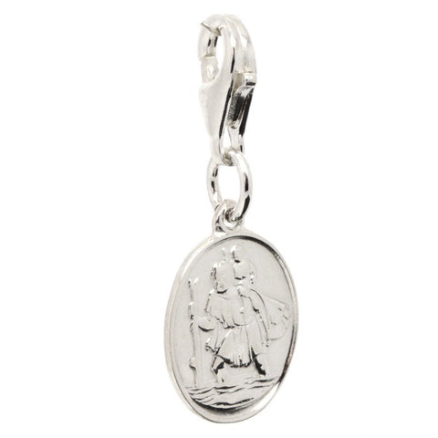 Silver St Christopher Charm - Oval