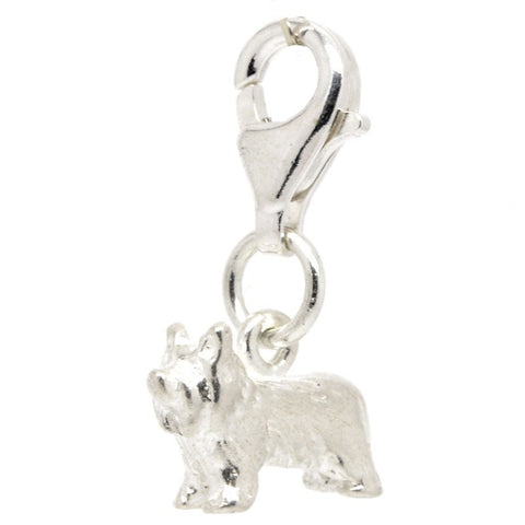 Silver Yorkshire Terrier Yorkie Dog Charm