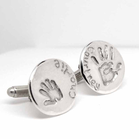 Silver Disc Handprint Cufflinks