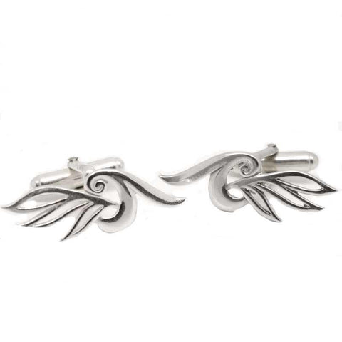 Silver Ladies Large Leaf Swirl Cufflinks