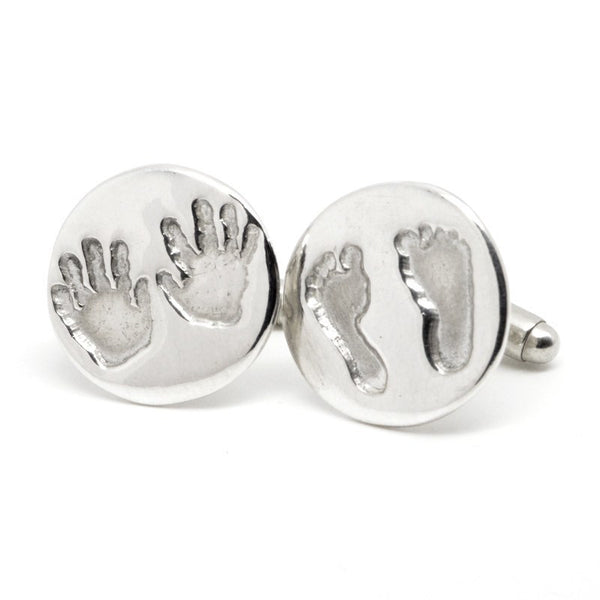 Round Handprint and Footprint Cufflinks - Perfectcharm - 1
