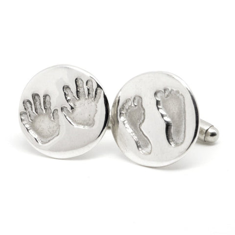 Silver Round Handprint and Footprint Cufflinks