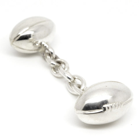 Silver Rugby Ball Double Cufflinks