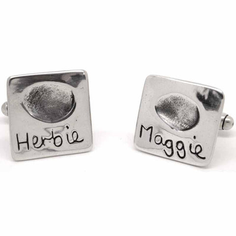 Silver Square Fingerprint Cufflinks
