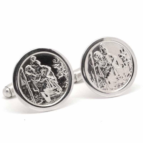 Silver St Christopher Cufflinks