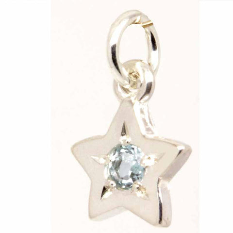 9ct White Gold Birthstone Star Charm