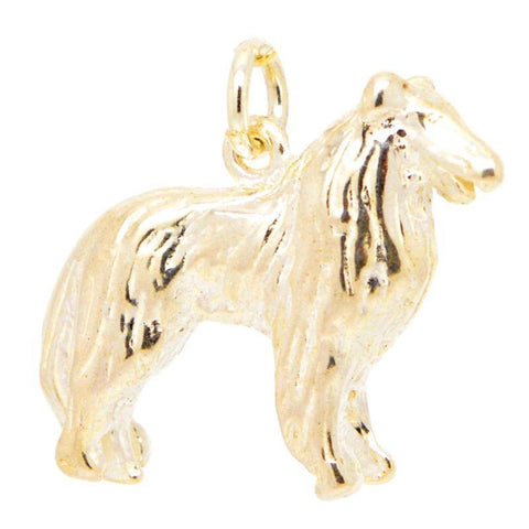 Gold Bearded Collie Dog Charm