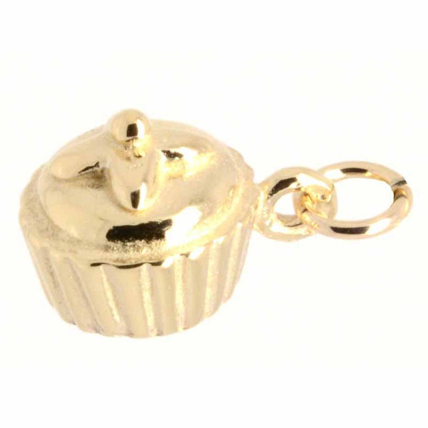 Gold Charm - Gold Cupcake Charm