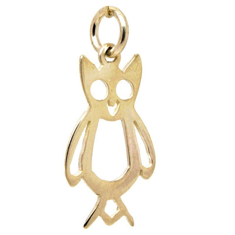 Gold Cut Out Owl Charm