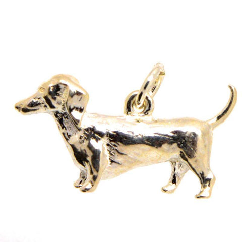 Gold Dachshund Dog Charm