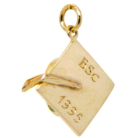 Gold Engraved Graduation Cap or Mortarboard Charm