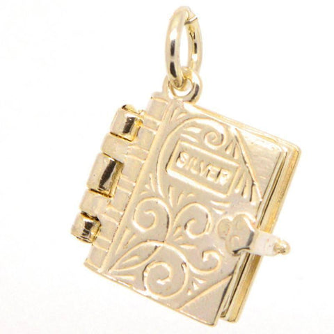 Gold Holy Book Bible Charm