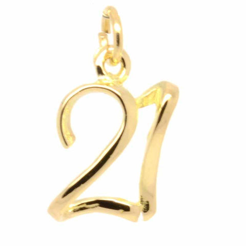 Gold Number 21 Charm