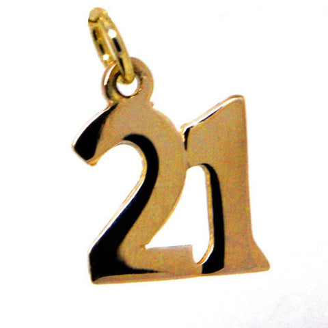 Gold Number 21 Plain Charm
