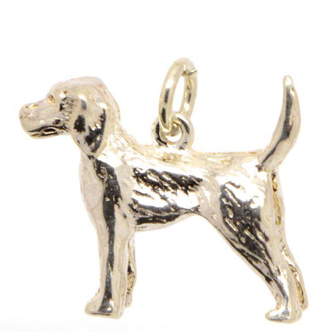 Gold Pointer Dog Charm