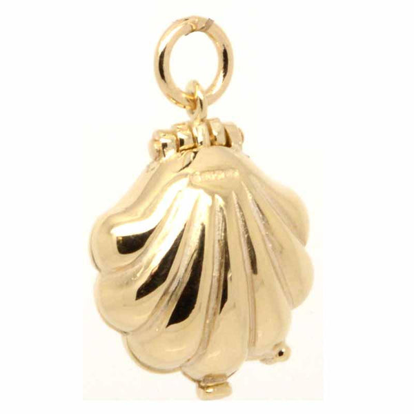 Gold Charm - Gold Shell With Mermaid Charm