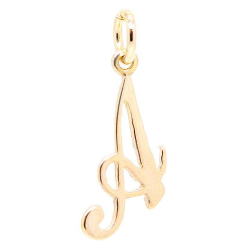 Gold Small Italic A Charm