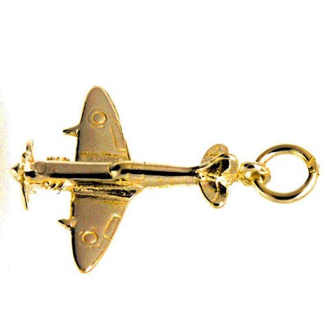 Gold Spitfire Fighter Plane Charm
