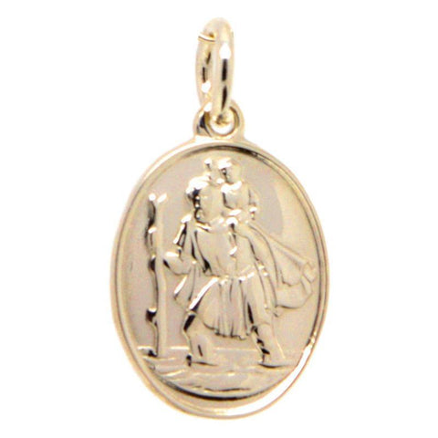 Gold St Christopher Charm - Oval