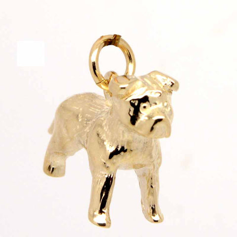 Gold Staffordshire Bull Terrier Charm