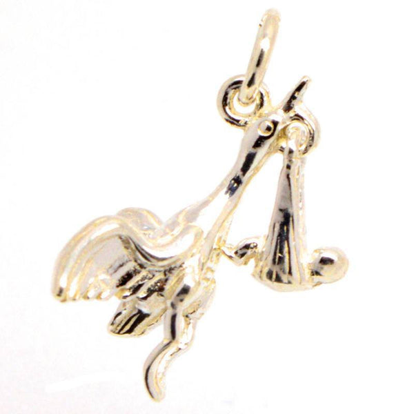 Gold Stork and Baby Charm - Perfectcharm - 1