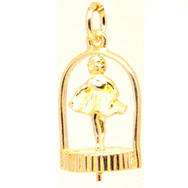 Gold Charm - Gold Twirling Ballerina Charm