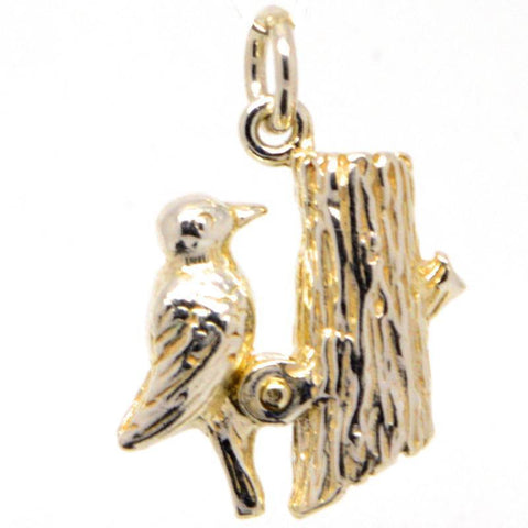 Gold Woodpecker Charm