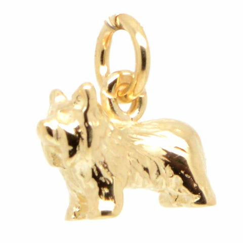 Gold Yorkshire Terrier Yorkie Dog Charm