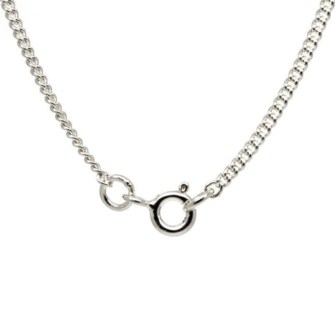 9ct White Gold Fine Close Curb Necklace