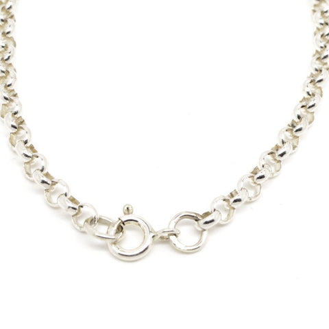 9ct White Gold Round Belcher Necklace