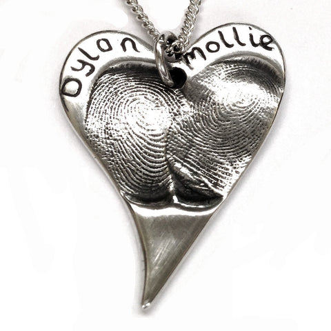 Silver Fingerprint Curvy Heart Necklace Pendant