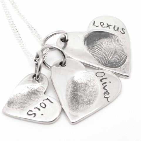 Silver Fingerprint Three Hearts Necklace Pendant
